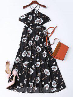 Bohemian Slit Floral Maxi Beach Dress - Black M