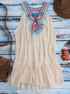 Crochet Bib Cover-Up Tank Dress - Beige