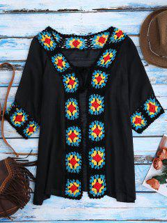 Crochet Panel Open Front Cover-Up - Black