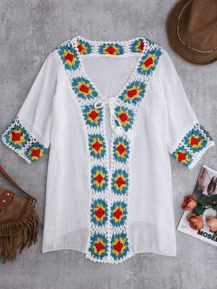 Crochet Panel Open Front Cover-Up - White