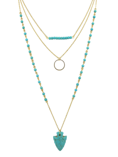 Arrow Beads Circle Layered Necklace - Turquoise Blue