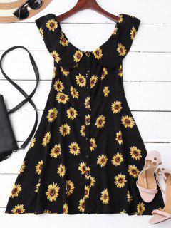 Off Shoulder Button Up Sunflower Dress - Black M