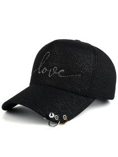 Beads Metal Circle Letters Baseball Hat - Black