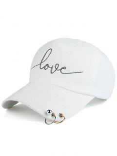 Beads Metal Circle Letters Baseball Hat - White