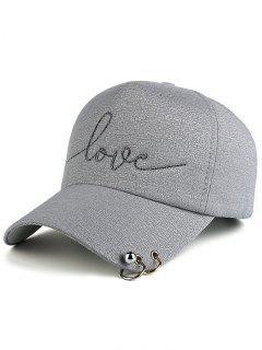 Beads Metal Circle Letters Baseball Hat - Gray
