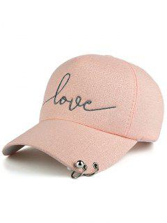 Beads Metal Circle Letters Baseball Hat - Pink