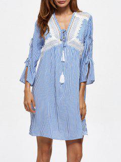 Striped Lace Up Casual Dress - Blue L