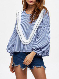 Stripes Ruffles Blouse - Blue M