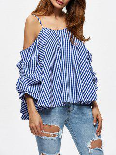 Checked Cold Shoulder Blouse - Blue Xl