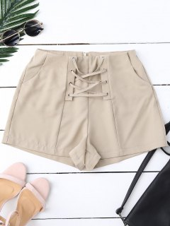 High Waist Lace Up Shorts - Pale Pinkish Grey S