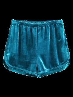 Sporty Velvet Shorts - Blue M