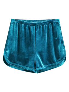 Sporty Velvet Shorts - Blue S