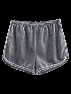 Sporty Velvet Shorts - Gray S