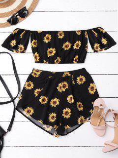 Schulterfrei Crop Top Und Sonnenblumen Shorts - Schwarz Xl