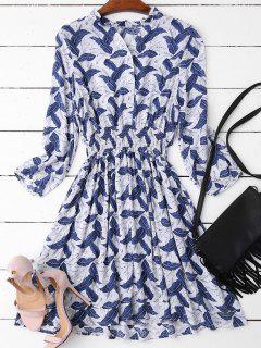 Leaves Print Mini Ruffled Dress - Deep Blue M