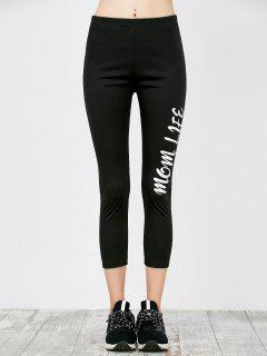 Skinny Letter Print Workout Capri Pants - Black M
