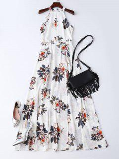 Bohemian Floral Open Back Maxi Dress - White M