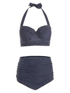 Polka Dot Plus Size High Waist Bikini - Cerulean 2xl
