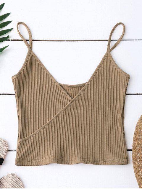 shops Ribbed Surplice Cropped Cami Tank Top - KHAKI ONE SIZE Mobile