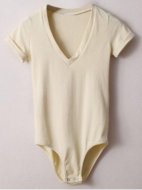 chic Skinny Plunging Neck Bodysuit - OFF-WHITE S Mobile