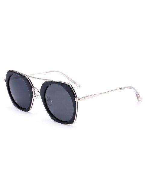 sale Anti UV Polarizing Geometric Sunglasses - BRIGHT BLACK FRAME + GREY LENS  Mobile