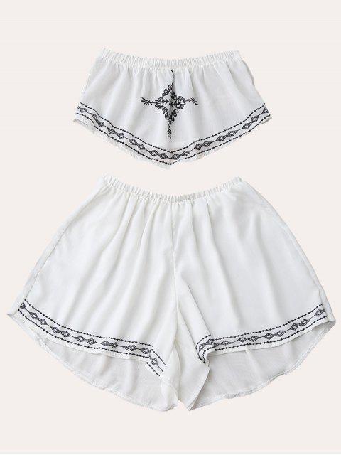 Ensemble de Top tube et shorts imprimés en mousseline de soie - Blanc M Mobile