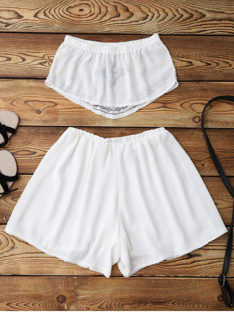 latest Print Chiffon Tube Top and Shorts - WHITE XL Mobile