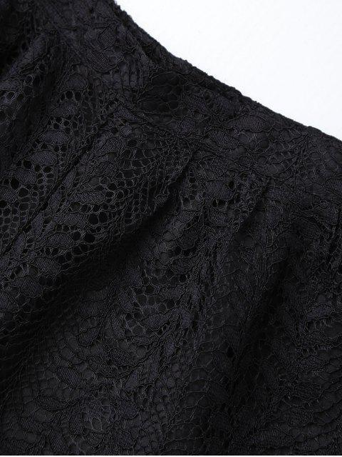 ladies Layered Lace Shorts - BLACK M Mobile