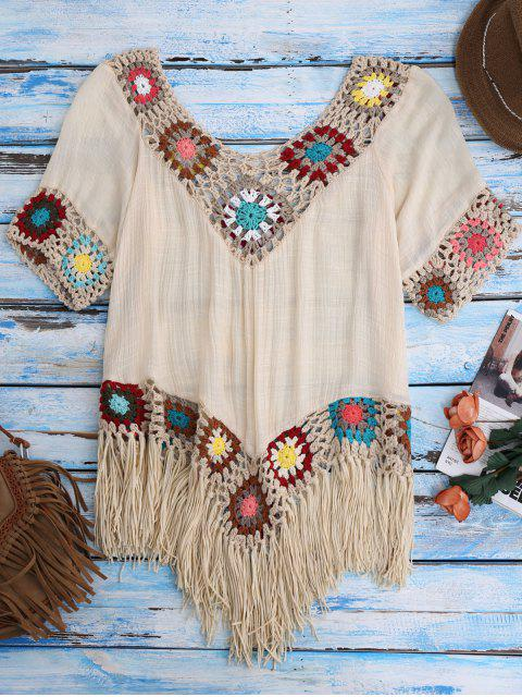outfits Crochet Beach Cover-Up Tunic - BEIGE ONE SIZE Mobile