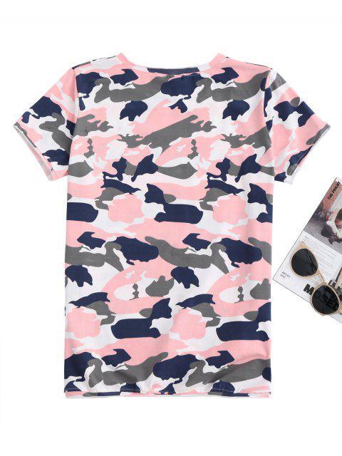 outfits Pentagram Applique Camo T-Shirt - PINK M Mobile