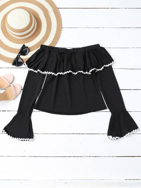 chic Scalloped Off Shoulder Flare Sleeve Ruffle Top - BLACK M Mobile