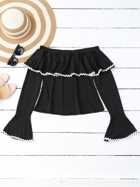 unique Scalloped Off Shoulder Flare Sleeve Ruffle Top - BLACK XL Mobile
