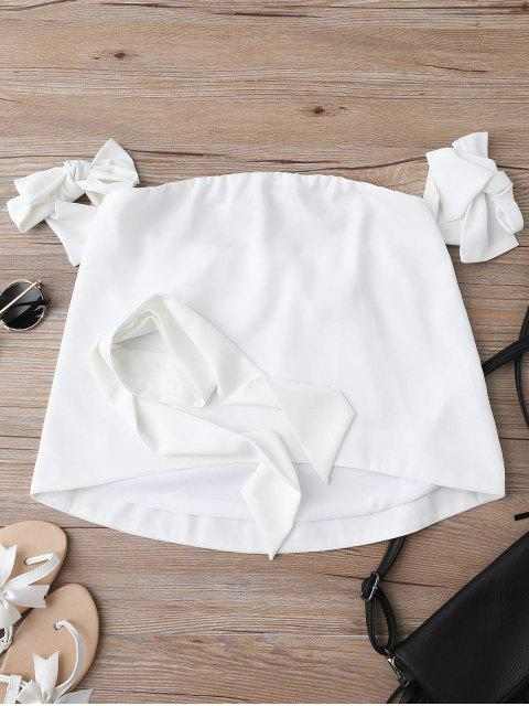 women Off Shoulder Choker Tie Sleeve Blouse - WHITE M Mobile