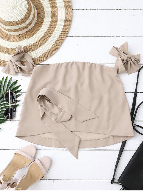best Off Shoulder Choker Tie Sleeve Blouse - NUDE S Mobile