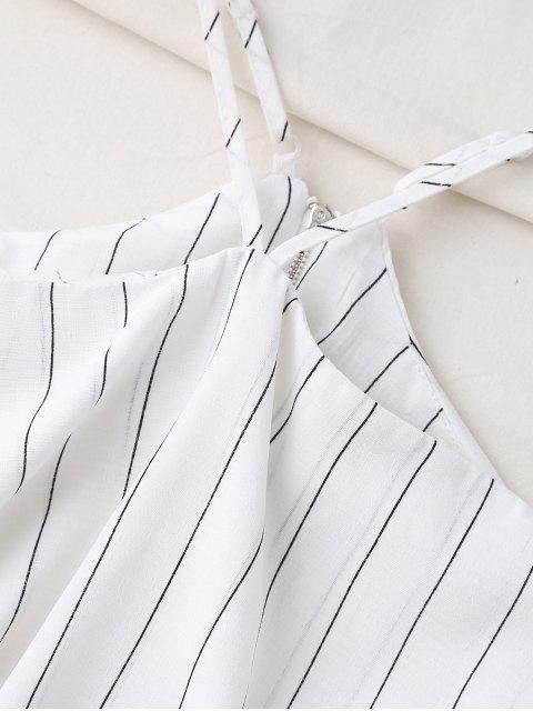 ladies Halter Striped Crop Chiffon Top - WHITE L Mobile