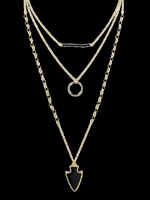 Flèche Perles Cercle Layered Necklace - Noir  Mobile