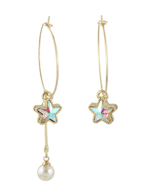 chic Asymmetric Faux Pearl Circle Star Earrings - GOLDEN  Mobile