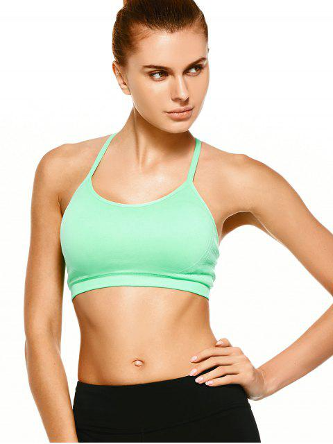 lady Push Up Strappy Back Sports Bra - GREEN M Mobile