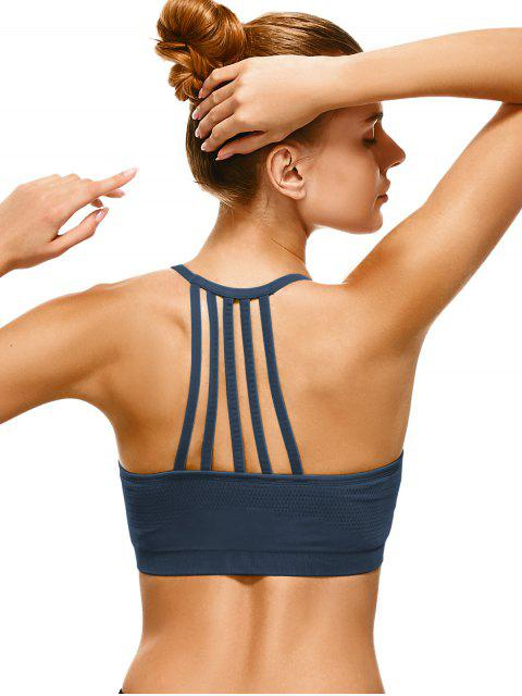 outfit Push Up Strappy Back Sports Bra - CADETBLUE L Mobile