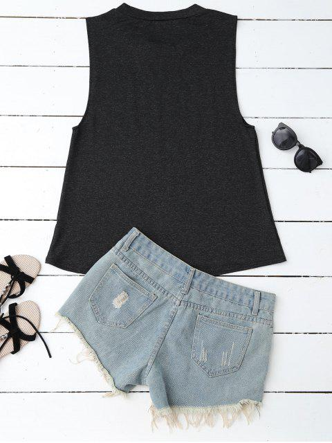 chic Armhole Graphic Tank Top - BLACK M Mobile