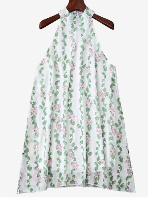 women Mandarin Collar Plant Print Sleeveless Dress - GREEN S Mobile