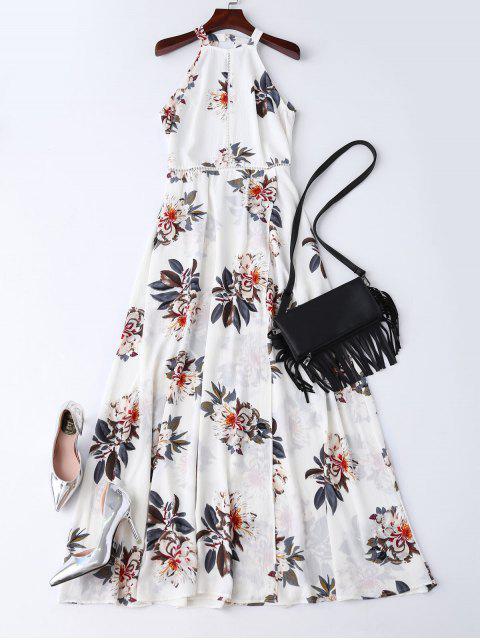 hot Bohemian Floral Open Back Maxi Dress - WHITE L Mobile