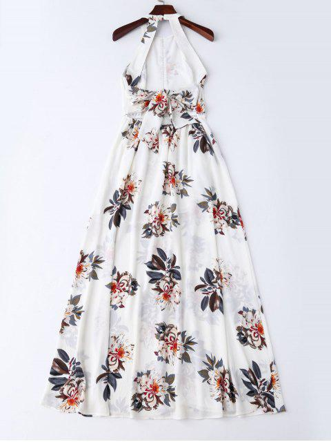 outfits Bohemian Floral Open Back Maxi Dress - WHITE S Mobile