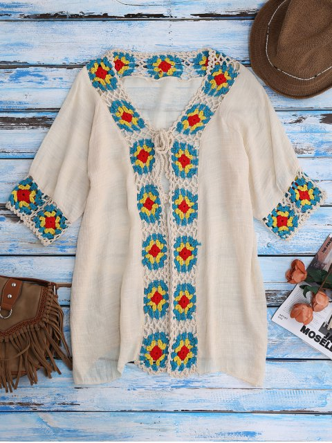 chic Crochet Panel Open Front Cover-Up - BEIGE ONE SIZE Mobile