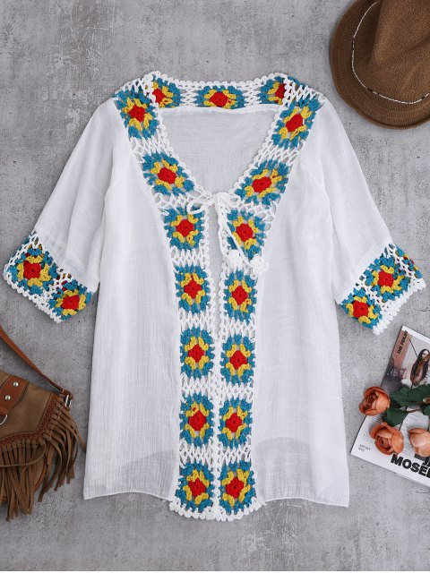 unique Crochet Panel Open Front Cover-Up - WHITE ONE SIZE Mobile