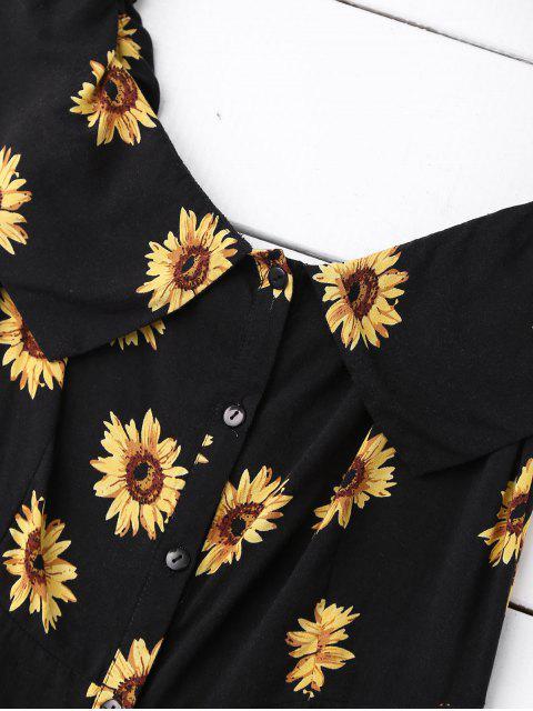 shops Off Shoulder Button Up Sunflower Dress - BLACK S Mobile