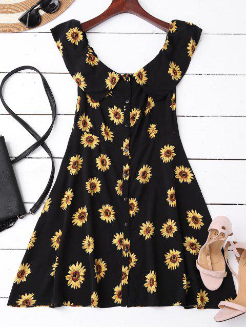 Aus Schulter Button Up Sunflower Kleid - Schwarz M Mobile