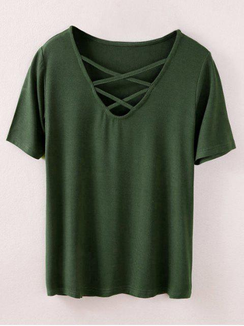ladies Strappy T-Shirt - ARMY GREEN M Mobile