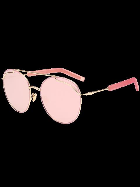lady Anti UV Double Metallic Crossbar Sunglasses - GLOD FRAME + PINK LENS  Mobile
