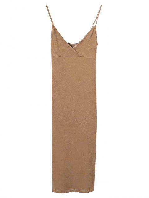 buy Cami Plunging Neck Surplice Bodycon Dress - BROWN M Mobile